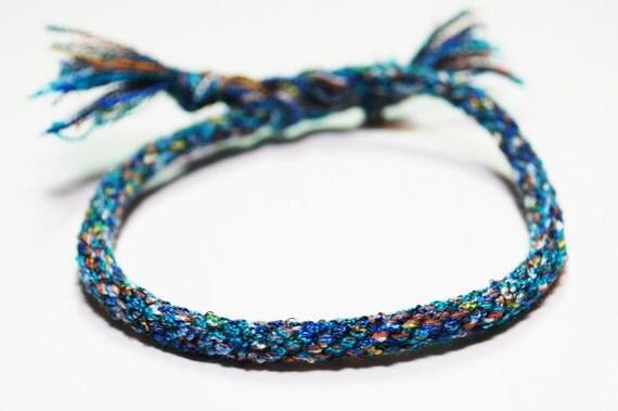 Mens Blue Bracelet Kumihimo Fiber Flecks of Blue Jewelry