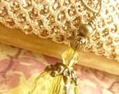 Lemon yellow necklace vintage necklace transparent crystal drop pendant