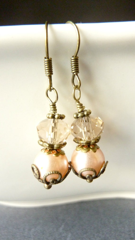 Peach Earrings Vintage earrings pearl and crystal pale pastel peach
