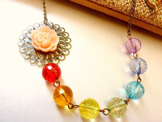 Flower necklace rainbow colors crystal bib asymmetrical brass red orange yellow green aqua blue sky blue purple