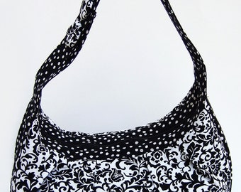 Purse- SALE!!- Handbag- Handmade- Cotton- Black and White