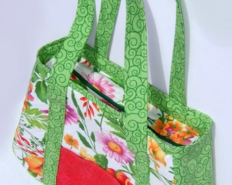 Purse-SALE Price! Handbag- Green and Floral- Handmade-Cotton Tote-style- Zippered top