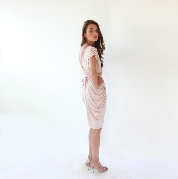 Blush pink bridesmaids gown, Knee length blush dress 1007