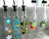 Hand Painted Olive Oil, Vinegar, & Soap Bottles