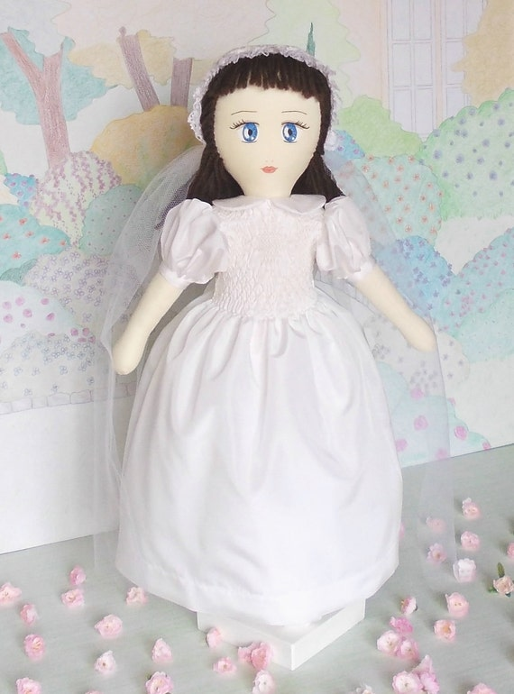 Collection stuffed doll Lucìa (Lucy / Lucie), handmade, with her original First Holy Communion dress, about 16.5 inches (42 cm) tall