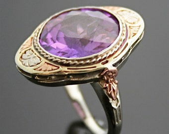 Antique Ring - Antique Arts & Crafts 14k Tri-Gold and Synthetic Color-Change Sapphire Cocktail Ring