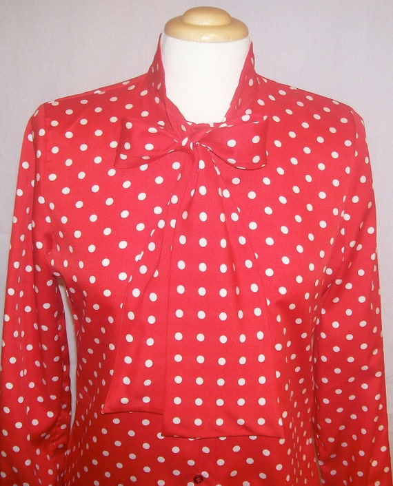 SALE Stunning Vintage red and white Mad Men Polka Dot Judy Bond Secretary Blouse Pussy Bow