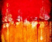 Large Wall Art, Handmade Abstract Acrylic and Mixed Media Original Painting on Canvas, Red, Titled:  Love at First Sight, 30 x 30