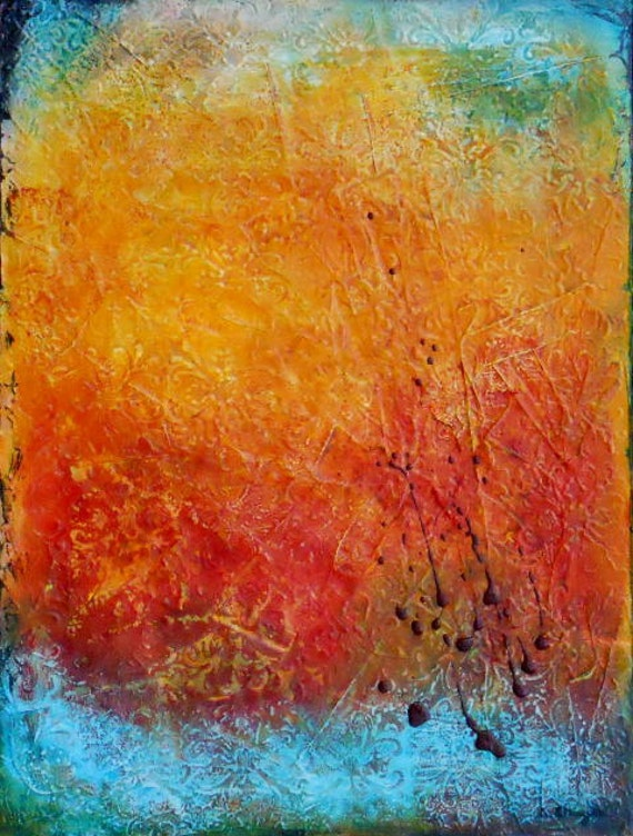 "SALE Original Art, Abstract Acrylic Textured Painting on Canvas, 18"" x 24"""