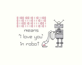 "Cross stitch PATTERN -- ORIGINAL Robot ""I love you"""