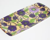 Thetford Melamine Tray Vintage purple and lilac flowers 1960s 1970s Flower Power