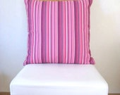 """Linen Pink Pillow Cover with Pink, Purple and White Thin Stripes Print - 18x18"""" - Gift for Her, for Mom - Ready to Ship Decor"""
