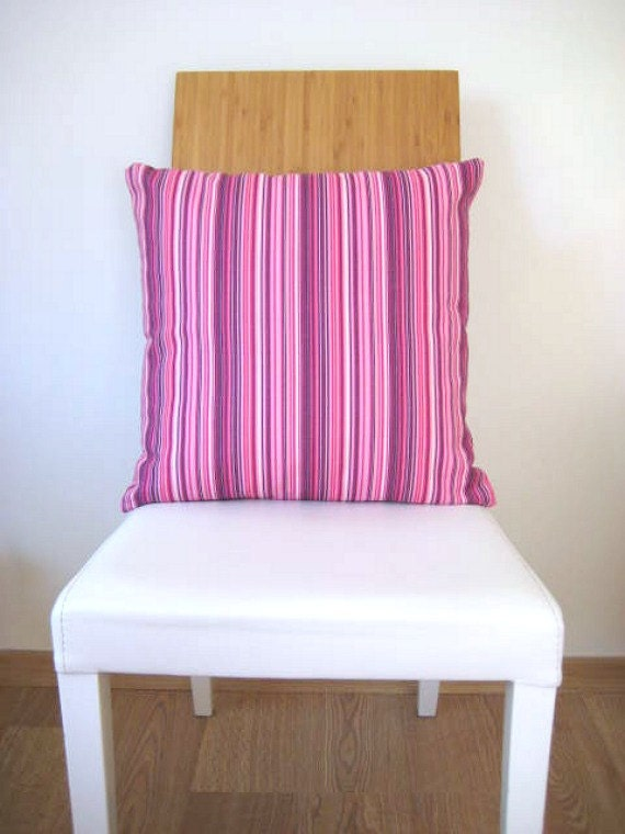"Linen Pink Pillow Cover with Pink, Purple and White Thin Stripes Print - 18x18"" - Gift for Her, for Mom - Ready to Ship Decor"