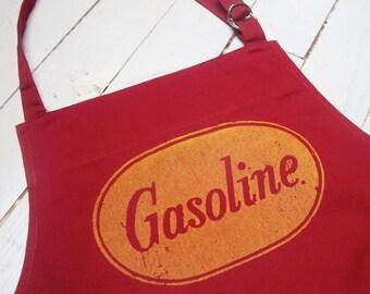 BBQ Chef Apron Vintage Gasoline- Full length Men's or Women's Red Bib  Apron