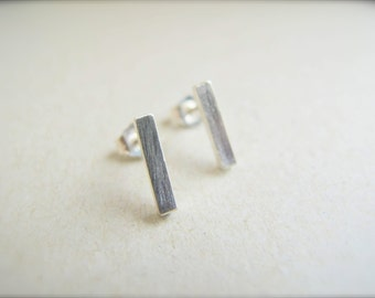Bar Stud Earrings/ tiny line post earrings - sterling silver