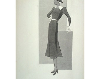 MODERNIST! Deco, FASHION, Original Grisaille, Hand Painted, Ink Wash, 1930s, Beautifully Done, Great Condition