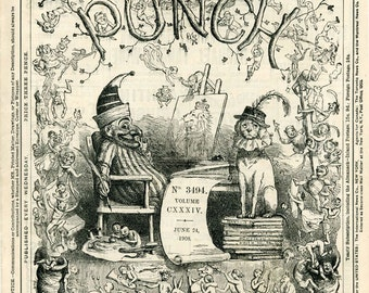 PUNCH: 3 Complete Issues. POLITICS, EDWARDIAN, Cartoons, British Advertising, 1908, Antique Issues