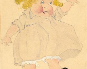 DOLL TODDLER Original Blonde Blue-Eyed Sweetie Pie, Vintage, 1930s, Mixed Media, Folk Art, OOAK on Board