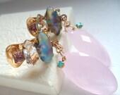 Rose Quartz Clip On Dangle Earrings Vintage Repurposed Pastel Upcycled Assemblage OOAK Valentine Jewelry AAA Gemstone Briolettes OOAK