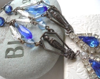 Blue Virgin Mary Art Nouveau Long Chandelier Dangle Earrings Rhinestone Vintage Repurposed Upcycled Religious French Catholic Jewelry OOAK