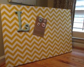 Magnetic Board Upholstered Large, 24x36 chevron fabric wrapped magnet memo board with initial magnet 3 small magnets THE CHARMING WALL
