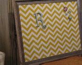 25 x 31 barnwood FRAMED FABRIC MAGNET board, memo board, chevron, organize 3 small magnets & small initial magnet, the charming wall