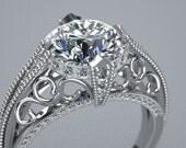 14K White Gold Customizable Engagement Ring