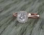 Double Diamond Halo Cushion Cut Diamond Engagement Ring 14K Pink Gold