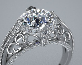 14K White Gold Customizable Engagement Ring