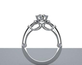 Filagree Engagement Ring Bezel Set Diamond Accents 14K White Gold Customizable