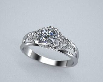 Diamond Engagment Ring 14K White Gold Customizable