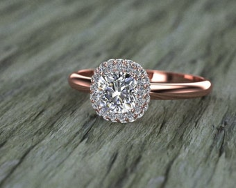 Double Diamond Halo Cushion Cut Diamond Engagement Ring 14K Pink Gold