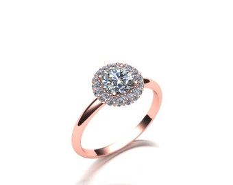 Double Halo Diamond Engagement Ring 14K Rose Gold Customizable