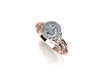 Diamond Halo Scroll Engagement Ring 14K Rose Gold 14K White Gold