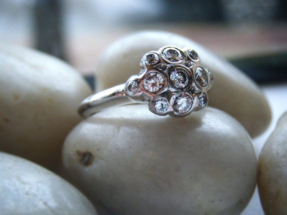 Diamond Engagement Ring Sterling Silver Diamond Statement Ring