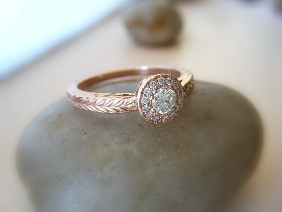 Diamond Engagement Ring Diamond Halo 14K Rose Gold Pink Gold Hand Engraved