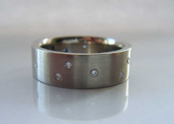 7mm Wide Diamond Wedding Band 14K White Gold