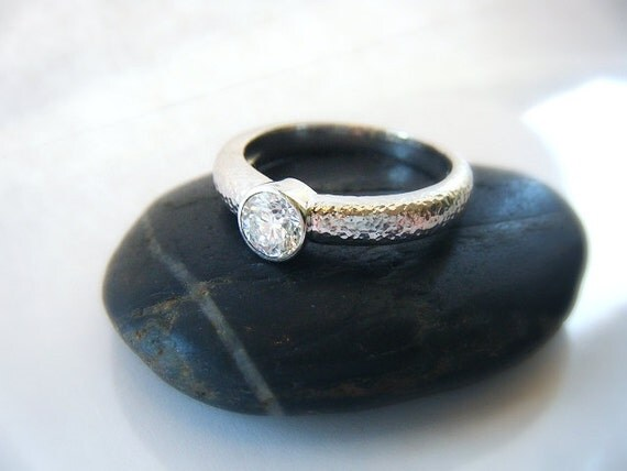 Diamond Engagement Ring Bezel Set 14K White Gold Hammered Finish