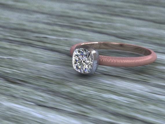 Diamond Solitare Engagement Ring 14K Rose Gold 14K White Gold Bezel Set