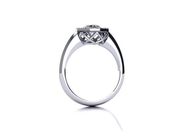 Diamond Halo Engagement Ring 14K White Gold