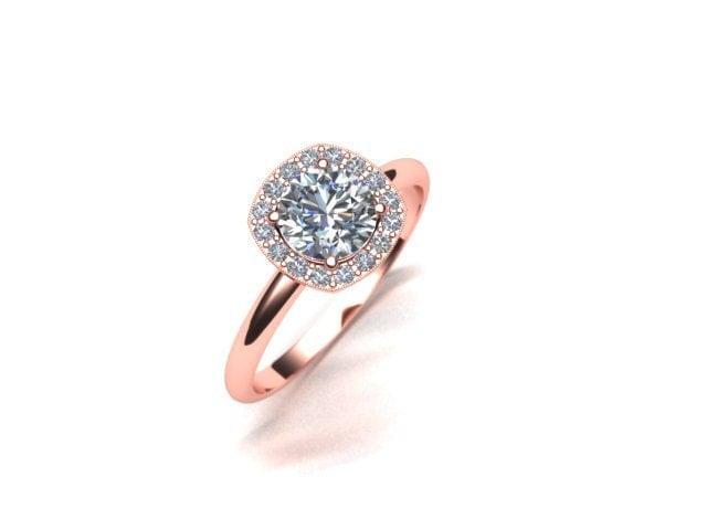 Cushion Diamond Halo Engagement Ring 14K Rose Gold