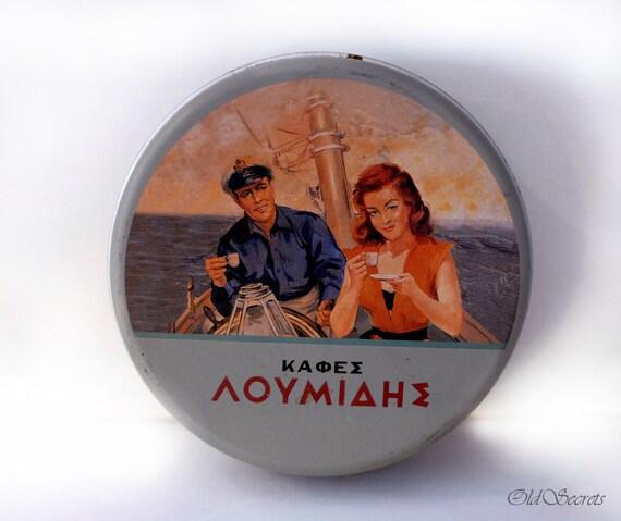 Greek Vintage Coaster Set, Six Coasters with Storage Tin Box, Mid Century Decoration, Greek Coffee Collectible