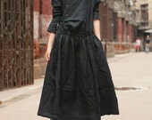 Linen Dress Gown in Black / Custom Long Bridesmaid Dress - Made to order