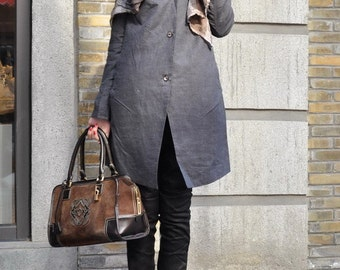 Linen Trench Coat Jacket in Grey / Long Coat Winter Coat Jacket Women Coat Swing Coat Designer Coat- Custom Made/XL,XXL,Plus size A8023