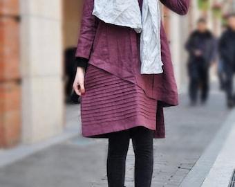 Linen Dress, Linen Tunic, Purple Dress, Long Sleeve Dress, Winter Dress, Linen Shirt Dress, Layered Dress, Pleated Dress, Linen Kaftan