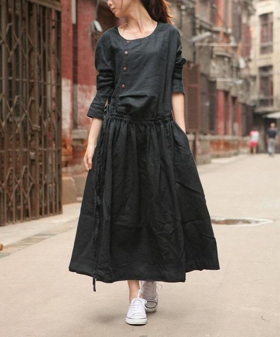 Long Black Dress, Black Linen Dress, Black Maxi Dress,black Cocktail Dress, Black Bridesmaid Dress, Linen Kaftan Dress, Little Black Dress