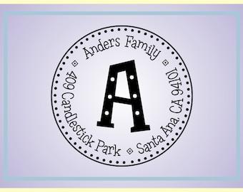 Cute Monogram Return Address Stamp - Personalized Preink Stamp