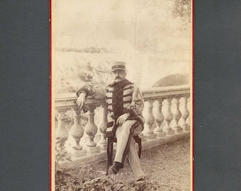 Outdoor Cabinet Card of a Uniformed Military Officer