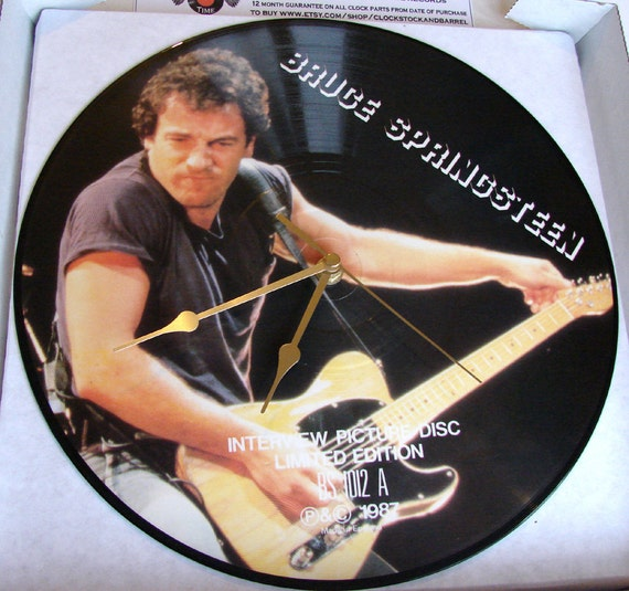"Bruce SPRINGSTEEN Vinyl Record CLOCK made from recycled 12"" Picture disc Great christmas gift for men women fans of the boss american rock"