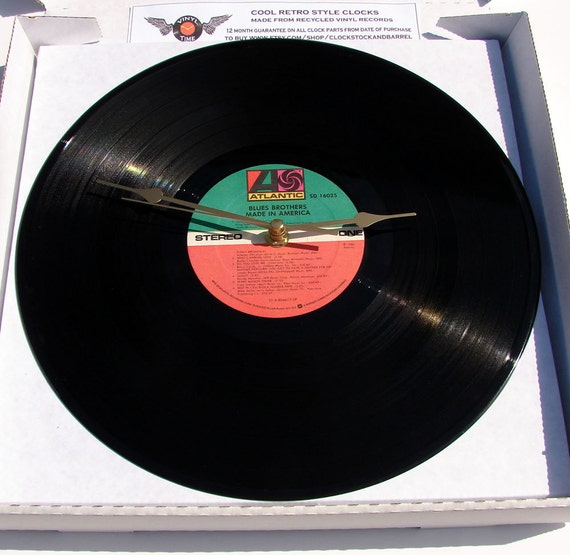"""Blues Brothers Made in America Vinyl Record CLOCK made from recycled 12"""" LP"""